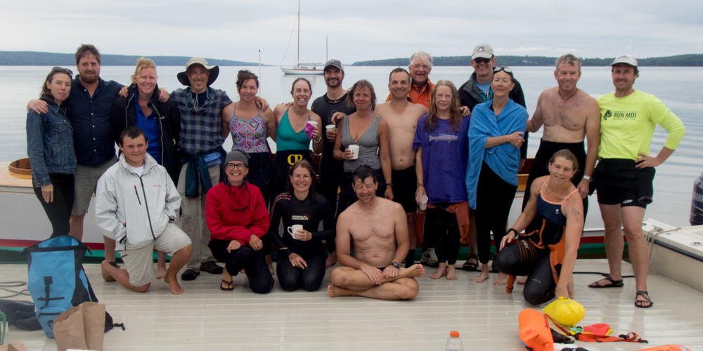 swimmers and crew after the swim
